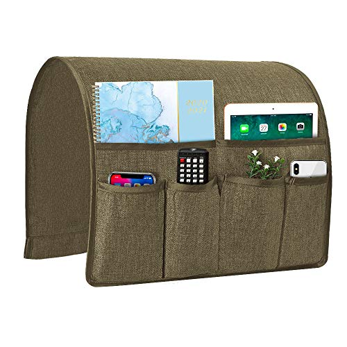 Joywell Sofa Armrest Organizer, Remote Control Holder for Recliner Couch, Arm Chair Caddy with 6 Pockets for Magazine, Tablet, Phone, iPad, Light Chocolate