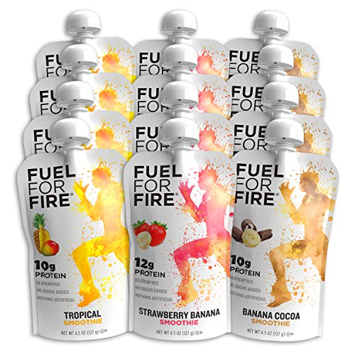 Fuel For Fire - Variety - Best Sellers (12 Pack) Fruit & Protein Smoothie Squeeze Pouch   Perfect for Workouts, Kids, Snacking - Gluten-Free, Soy-Free, Kosher (4.5 ounce pouches)