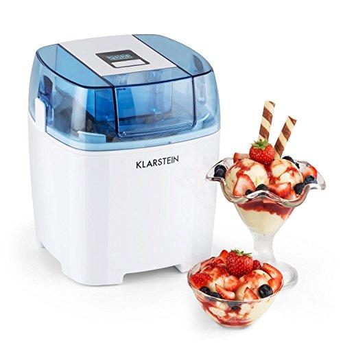 Klarstein Creamberry - Eismaschine, Speiseeismaschine, 4-in-1-Eisbereiter, Zubereitung in 20 Minuten, 1,5 Liter Fassungsvermögen, Thermobehälter, stromsparend, Timer, 10 Watt, weiß