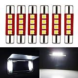 EverBright White 28MM Festoon Led For Car Visor Mirror Lights, 14V1CP 6641 6612F Led Festoon Bulb 12V Dome Light, 3030-4SMD, Pack of 6