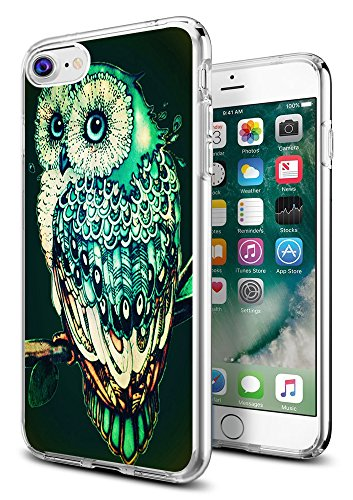 Owl Case for iPhone 8/7,Gifun Anti-Slide Clear TPU Flexible Protective Case Cover Compatible with iPhone 8/7 - Green Owl
