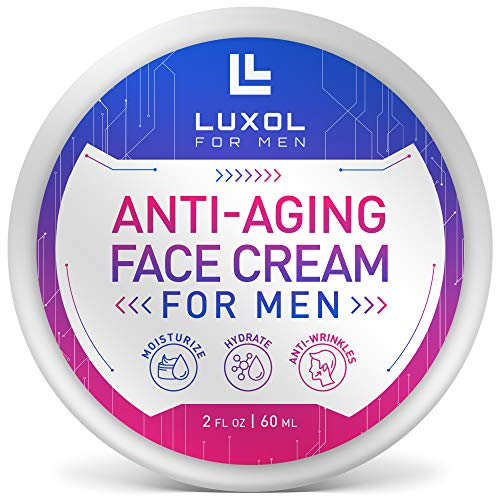 LUXOL Anti-Aging Face Cream for Men, Natural and Organic Anti Aging Cream To Reduce Puffiness, Wrinkles, Dark Circles, Crows Feet and Under Eye Bags 2oz