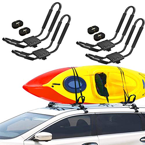 Adust 2 Pair J-Bar Rack for Kayak Carrier Canoe Boat Paddle Board Surfboard Roof Top Mount on Car SUV Truck Crossbar with Ratchet Lashing Straps