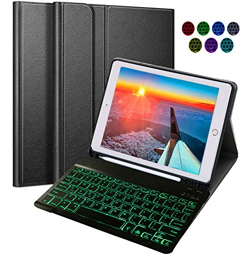 Keyboard for iPad, Built-in Apple Pencil Holder 9.7 iPad Keyboard Case with 7 Backlit Colors, Rechargeble iPad Case with Bluetooth Keyboard For iPad 2018 2017 5th 6th Generation