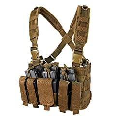 Padded cross-back shoulder strap with webbing and D-ring Swivi-Lockster - swivel push release buckles 3 built in stacker/kangaroo style mag pouches; holds 6 M4 mags and 6 pistol mags Front pocket pouch with hook and loop panel inside Two open top mag...