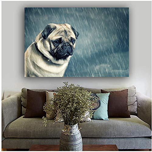 Leinwand Wandkunst, Hundebilder Gemälde auf Leinwand Tier Poster Wandkunst für Wohnzimmer Morden Style Home Decoration 60X90Cm Rahmenlos