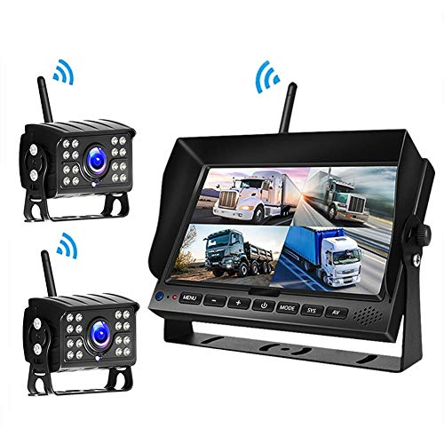 RSGK Grabador De Conducción 1080P, Pantalla Grande De Alta Definición, Imagen De Marcha Atrás De Grabación Dual Digital Inalámbrica De 7 Pulgadas, con Visión Nocturna/Detector De Movimiento