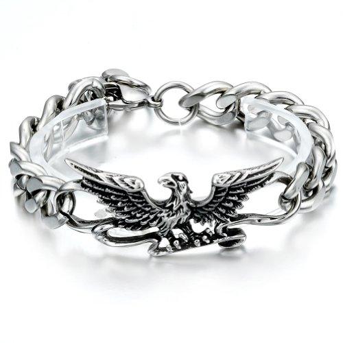 JewelryWe Schmuck 22cm Gothik Adler Armband, Edelstahl Armreif, Farbe Silber