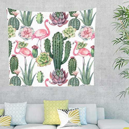 Mandala Aquarell Rosa Flamingo Verde Cactus Pianta Dipinto da Parete Tapisserie Psychedelisch Gobelin Parete Divano Copridivano Testiera Sfondo Telo 100x150cm bianco