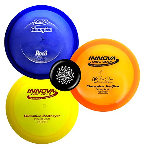 Innova Disc Golf Premium Plastic Upgrade Set – Colors May Vary 170-180g – Improve Your Disc Golf Game with Predictability, Durability, and Performance (Champion Plastic)
