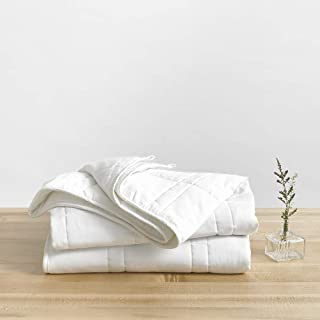 Baloo Weighted Blanket Throw Size - 12 lbs (42x72 inches) - Eco-Luxury Soft Cool Cotton in Pebble White - Lead-Free Glass ...