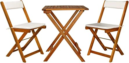 vidaXL 3 Pieces Solid Acacia Wood Folding Bistro Set with Cushions Weather Resistant 2 Chairs and 1 Table Garden Lounge Se...