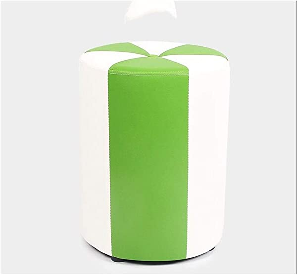 Carl Artbay Wooden Footstool White Green Cylinder Low Stool Make Up Stool Children S Leather Stool Waterproof Home