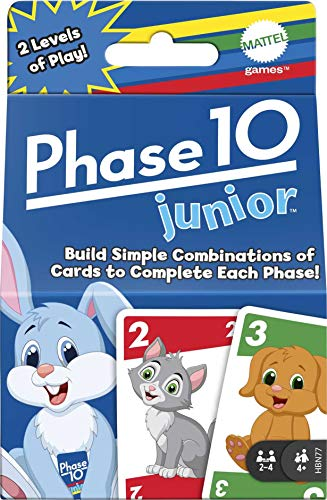 Phase 10 Junior Card Game, Multi-Level Rummy-Style Matching Colors, Animals & Shapes with 56 Cards...