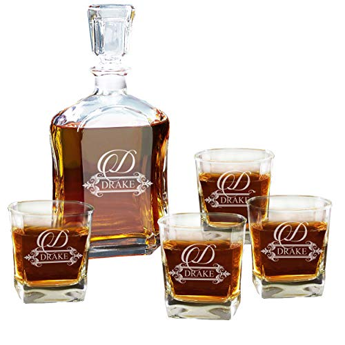 Personalized 5 pc Whiskey Decanter Set