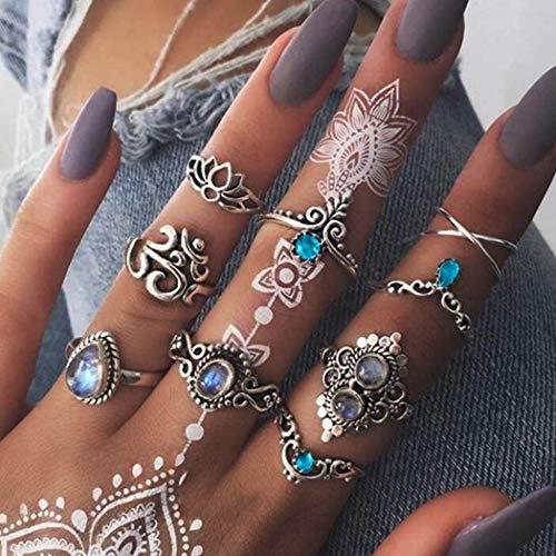 Flrora Boho Kristall Gelenk-Knöchelringe Silber Opal Blume Fingerring Set geschnitzt stapelbar Ringe für Frauen und Mädchen (9er-Pack)