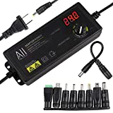 3V - 24V 1.5A 36W Adjustable DC Power Supply Adapter Speed Control Volt Display with Variable 8...