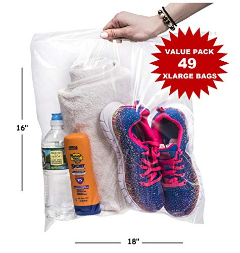 Extra Large Strong Clear Ziplock Storage Bags, 3.5 Gallon 16x18 Big Size, Great for Freezer or Storage (49 Bags) Made in USA