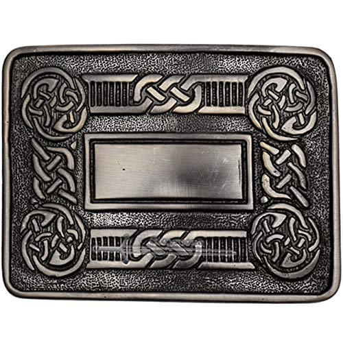 Celtic Knot Kilt Belt Buckle Matte with Classic Celtic Cross design, Scottish Belt Buckle For Men