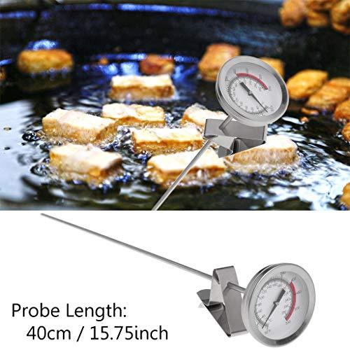 BIlinli Freidora de Aceite Freidora Fritas Alitas de Pollo Frito Parrilla Termómetro 40 cm Sonda Larga