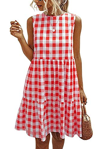 OWIN Women's Casual Plaid Sleeveless Ruffle Sundress Round Neck A-Line Pleated Mini Short T Shirt Dress with Pockets Red