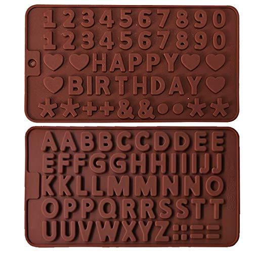 IHUIXINHE 2 Piezas Molde de Silicona con Letra Inglesa, Moldes de Chocolate...
