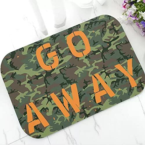 Felpudo Entrada Divertido Go Away, estera de puerta de camuflaje verde camuflaje para cocina, baño, ejército, felpudo de camuflaje militar, alfombra, alfombra, cazador, decoración del hogar-40X60CM