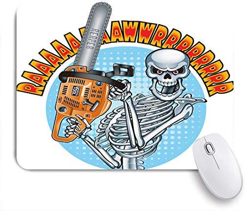 GLONLY Esqueleto Humano Sonriente sosteniendo una Motosierra,Alfombrilla Raton Alfombrilla Gaming Alfombrilla para computadora con Base de Goma Antideslizante para Laptop con computadora