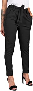 High Waist Pants Trouser Bandage Slim Casual Cropped Paper Bag Waist Pants with Pockets