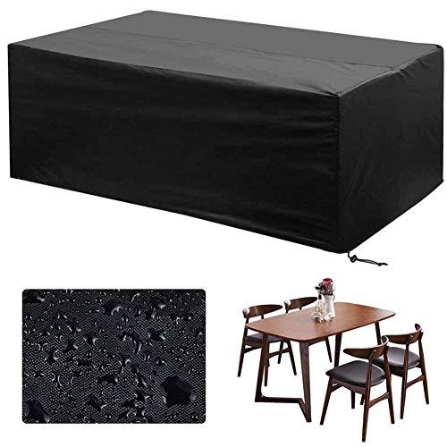 Fundas para Muebles de Jardín Impermeable, Resistente al Viento, Resistente al Polvo, Anti-UV 210D Oxford Funda Protectora Mesa Exterior, Rectangular, Grande - Negro,170×94×70 cm/67×37×27'