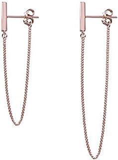 Cinlan Simple Chain 925 Sterling Silver Dangle Earrings Jewelry Minimalist Asymmetric earrings