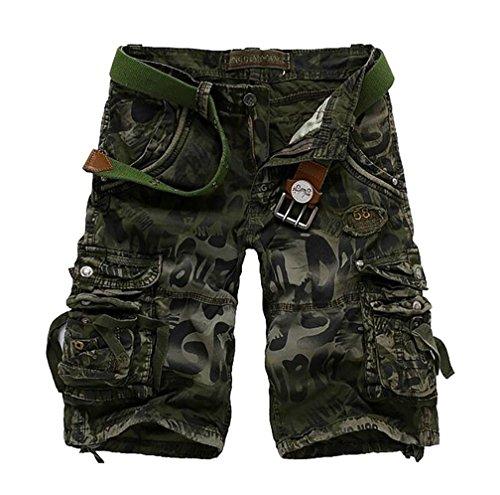 ZKOO Pantaloncini Cargo Denim Shorts Uomo Bermuda Pantaloni Corti con Tasconi Laterali Militari Cargo Shorts Pantaloncini da Esterno Esercito Verde