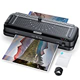 Laminator Machine, Sinopuren 9-Inch Thermal Laminator, Personal 3-in-1 Desktop Laminating Machine Built-in Paper Trimmer Punch and Corner Rounder with 10 Pouches Sheets for Home Office School - Black