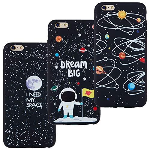 LeviDo 3X Cover Compatibile per iPhone 7/iPhone 8/iPhone SE (2020) Silicone Morbida Nero Gomma Bumper Case TPU Gel Paraurti Protettiva Antiurto, I Need My Space-Dream Big-Via Lattea