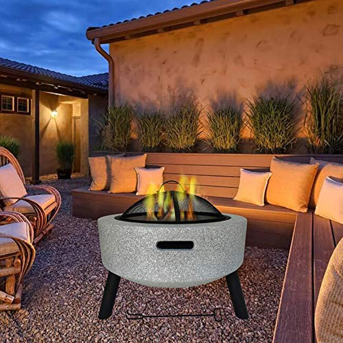 FMXYMC Round Fire Pit Table, Patio Heater with Cover, 23' Outdoor Firebowl, with Mesh Screen Spark, Lift Hook, Garden Deck Decoration,White