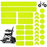 Reflective Stickers 30PCS Waterproof Adhesive Decals for Motorcycle, Helmets, Bicycles, Strollers, Wheelchairs, Racing Car, Truck, Scooter, Badge, Toys, Door, Window, Night Visibility Safety (Yellow)