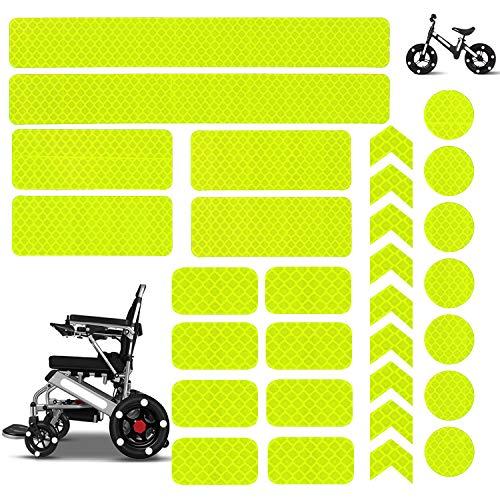30 Stück Reflektoren Aufkleber Sticker HiPerformance Reflexfolie Set zur Sicherungs-Markierung von Kinderwagen, Fahrrädern, Helmen mit Stickern - selbstklebend und hochreflektierend Sticker (Gelb)