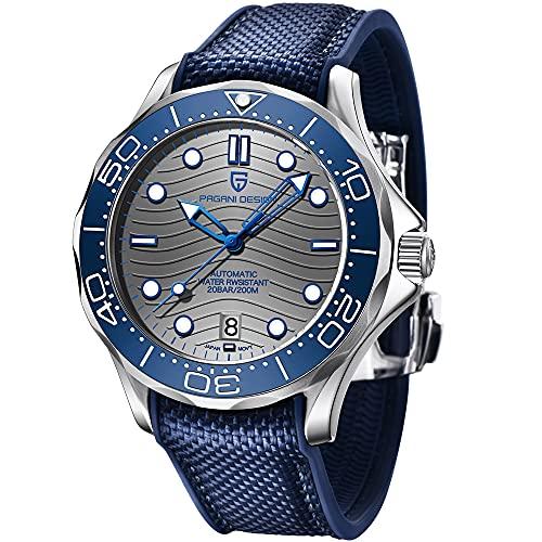 Pagani Design 1685 Fashion Relojes automáticos para Hombres Buceo 100M Hombres Relojes de Pulsera mecánicos NH35A Movimiento Casual Wave Dial Hombres Reloj Deportivo