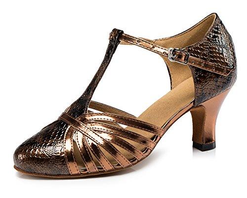 Honeystore Neuheiten Frauen's Kunstleder Heels Absatzschuhe Moderne Latein-Schuhe mit Knöchelriemen Tanzschuhe LD089 Kaffeebraun 38 CN