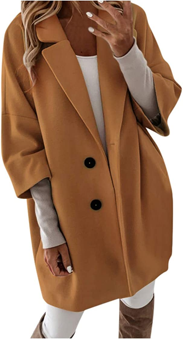 HGWXX7 Womens Peacoats Single Breasted Plus Size Fall Jacket 3/4 Sleeve Oversized Mid Long Casual Jacket with Pocket