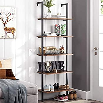 HOMFA 5-Tier Industrial Ladder Shelf Against The Wall 72.6 Inches Display Storage Rack Plant Flower Stand Utility Organizer Bookshelf Wood Look Accent Metal Frame Furniture Home Office
