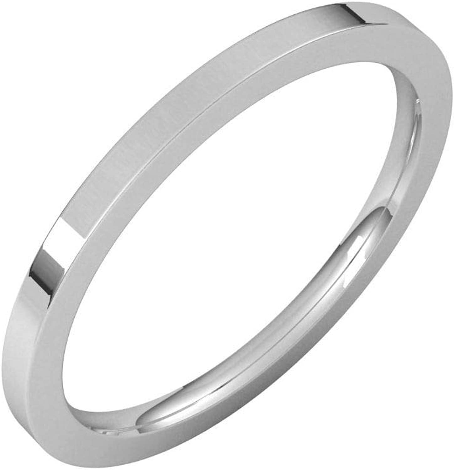 Oakland Mall Diamond2Deal 14K White 1.5 mm Flat Band New Free Shipping Wedding Ring Comfort Fit