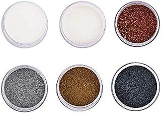 Lot de 6 poudres à embosser | poudre couleur | 10 ml par couleur | transparente, blanc, cuivre, argent, or, noir | scrapbo...