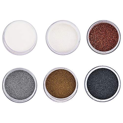 Ideen mit Herz Embossing-Pulver | Puder für Embossing | 6 Farben á 10 ml | klar, weiß, kupfer, silber, gold, schwarz
