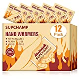 Supchamp Hand Warmers, 12 PCS Disposable Hand Pocket Glove Warmers, Up to 10 Hours of Heat, Safe Natural Odorless Air Activated Hand Heat Pads for Winter Outdoor Activities