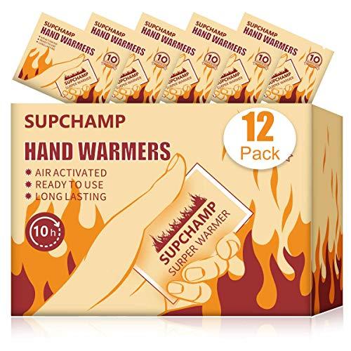 Supchamp Scaldamani, 12 PCS Hand Warmers, in Tasca per Le Mani, USA e Getta, Fino a 10 Ore di Calore, Cuscinetti di Calore per Le Mani, Attivati ad Aria Naturale, attività all aperto Invernali