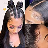 Julia Hair HD Lace Closure Wig Human Hair for Black Women,10A Straight Transparent Lace 5x5 Closure Wigs Pre Plucked with Baby Hair 200% Density Natural Black Color 20inch