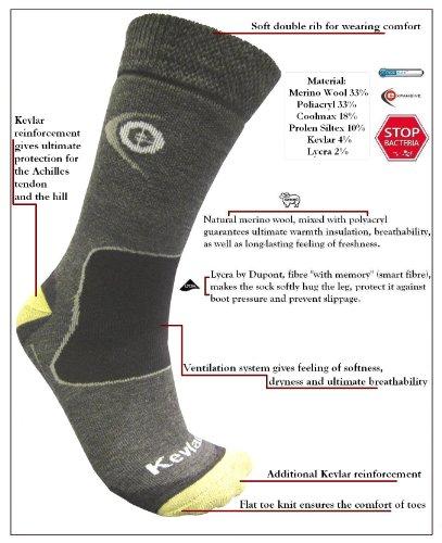 eXPANSIVE Trekking-Socken zum Wandern, Kevlar-Merinowolle, Coolmax, grau, Größe 35-38