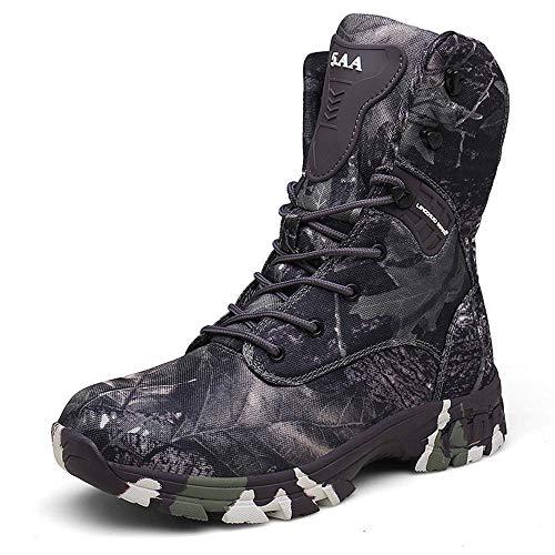 Bititger - Botas militares impermeables para hombre, de piel, con cremallera, botas tácticas y de combate para el desierto, para patrullas, seguridad, policía, color, talla 43.5 EU