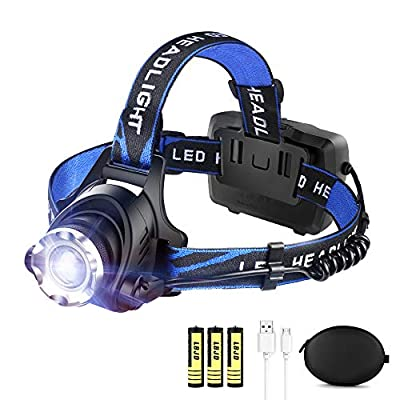 LED Rechargeable Headlamp Flashlight LBJD Super Bright Headlamps with 3 Rechargeable Batteries for Long Working Time, USB Cable Charge Head Lamp, Perfect for Running, Riding, Hiking, Fishing, Camping